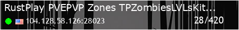 RustPlay PVE/PVP-Zones TP|Zombies|LVLs|Kits|Quests|Clans|+More!